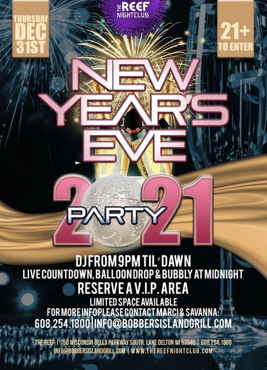 New Years Eve Party 2021, The Reef, Lake Delton, 31 December 2020