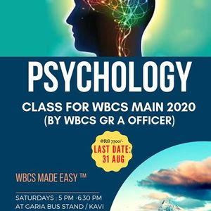 Psychology Optional Class for WBCS Mains 2020 at