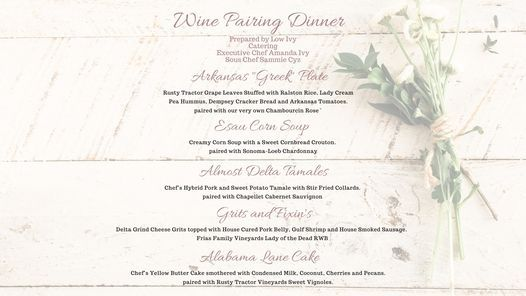 Five Course Wine Pairing Dinner with Low Ivy and Rusty Tractor Vineyards, 1 July   Event in Little Rock   AllEvents.in