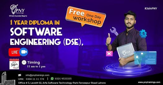 Free One Day Workshop on 1 Year Diploma in Software Engineering (DSE), 30 August | Event in Lahore | AllEvents.in