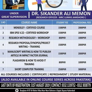 Certified Short Courses Under Supervision Dr. Sikander Ali Memon