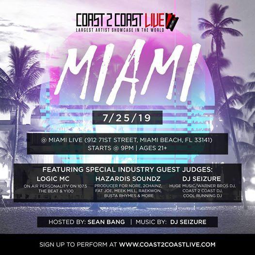 Coast 2 Coast LIVE Artist Showcase Miami FL - 50K Grand Prize