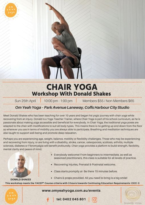 Chair Yoga Workshop with Donald Shakes, 27 June | Event in Coffs Harbour | AllEvents.in