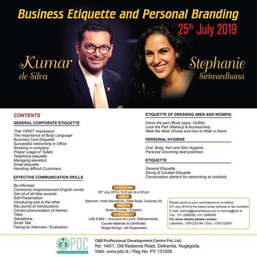 Workshop on Business Etiquette and Personal Branding at