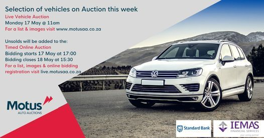 Standard Bank & IEMAS Financial Services Live Vehicle Auction, 17 May | Online Event | AllEvents.in