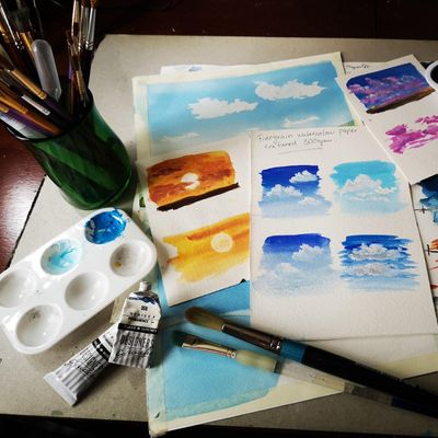 Painting Skies using Watercolours and Gouache