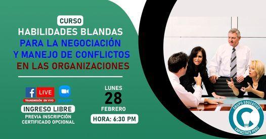 Curso Gratuito: Habilidades Blandas Negociación,Manejo Conflictos, 24 November   Event in Lince   AllEvents.in