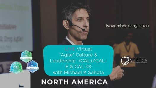 "ONLINE Live Sahota ""Agile"" Culture & Leadership (CAL1/CAL-E & CAL-O), 12 November | Online Event"