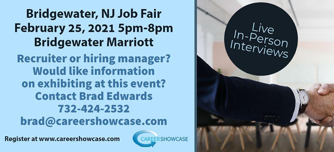 Bridgewater, NJ  Job Fair In Person February 25, 2021 5pm-8pm, 25 February | Event in Bridgewater | AllEvents.in