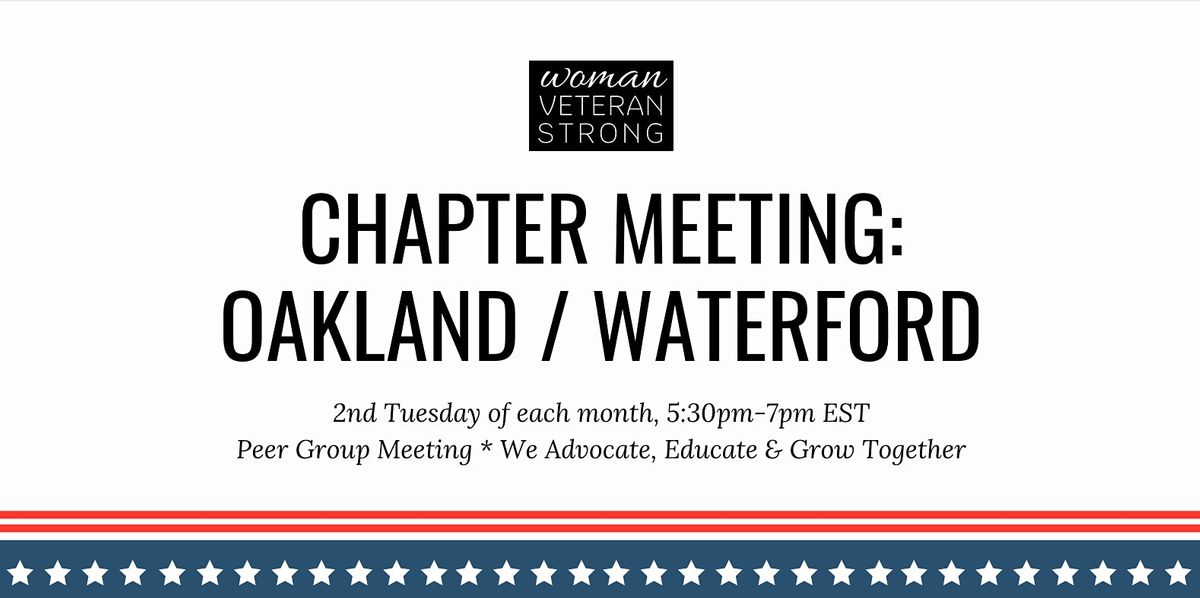 Woman Veteran Strong: Chapter Meeting (Oakland/Waterford), 10 November | Online Event | AllEvents.in