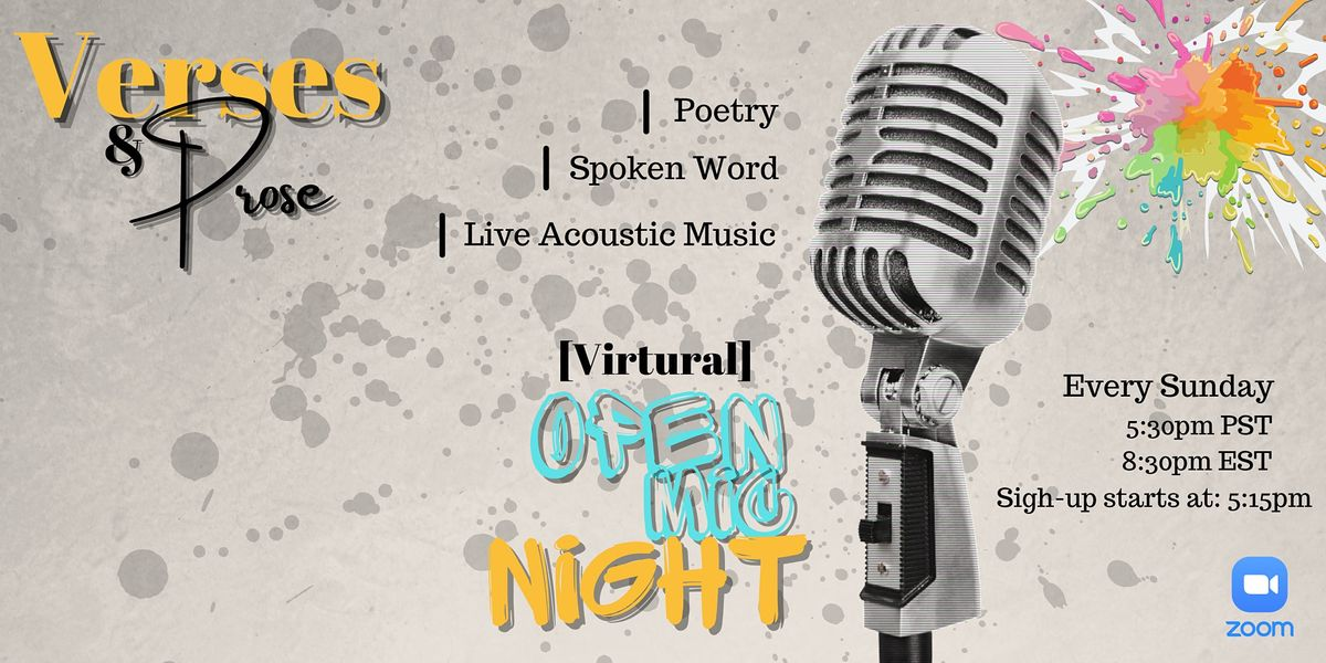 Verses & Prose Virtual Open Mic Night   Online Event   AllEvents.in