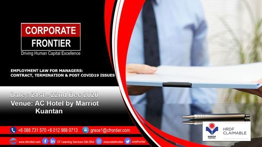 Employment Law For Managers: Contract, Termination & Post Covid, 21 December | Event in Jerantut | AllEvents.in