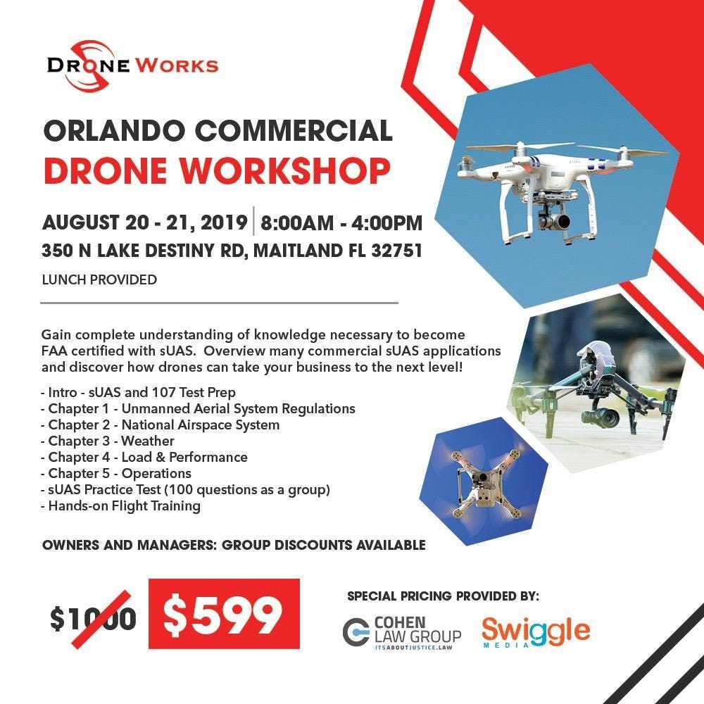 LIVE Part 107 Drone Class at Cohen Law Firm 350 N Lake Destiny Rd | 350  North Lake Destiny Road | Maitland, FL