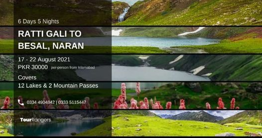 Ratti Gali to Besal Naran Trek (12 Lakes & 2 Passes), 17 August   Event in Islamabad   AllEvents.in