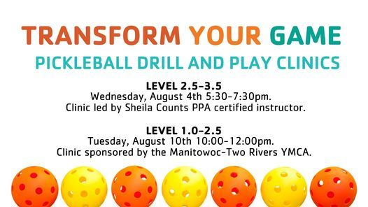 Pickleball Drill & Play Clinics, 10 August   Event in Manitowoc   AllEvents.in