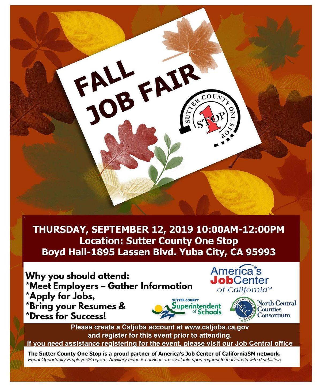 Fall Job Fair 2019 at Boyd Hall, Yuba City