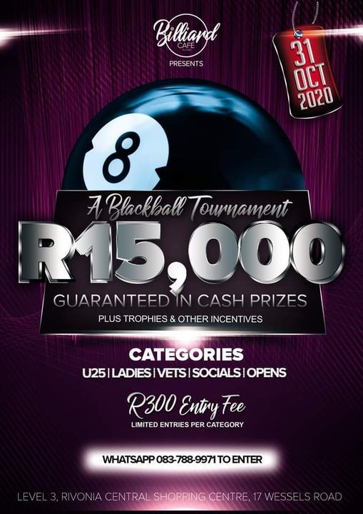 Billiard Cafe - R15,000 Blackball Pool Tournament, 31 March   Event in Sandton   AllEvents.in