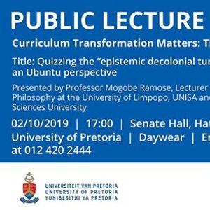 Invitation Public lecture by Prof Mogobe Ramose