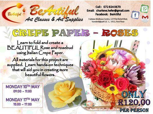 CREPE PAPER ROSES - R120, 10 May | Event in Vanderbijlpark | AllEvents.in