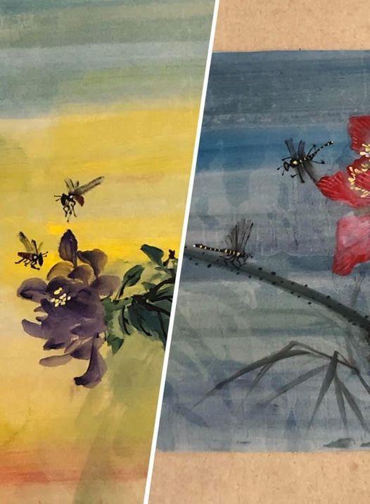 Chinees PenseelSchilderen (Libellen en bijen)