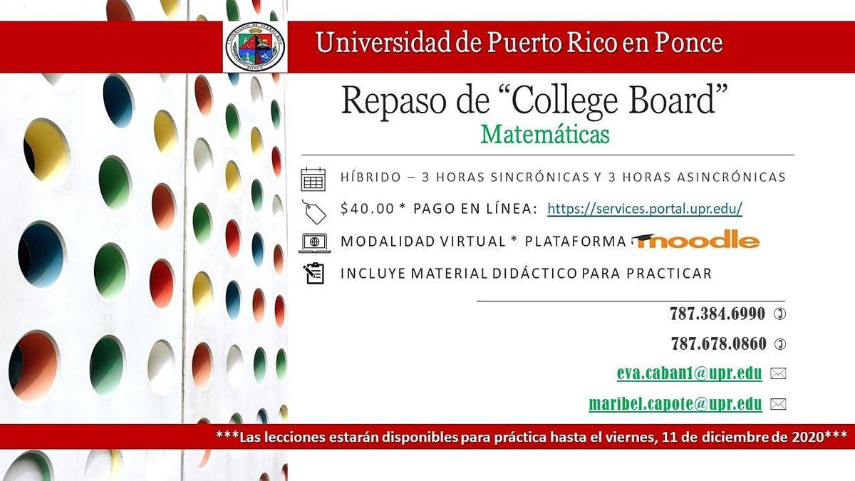 Repaso De Paa College Board De Matemáticas December 2 To December 11 Online Event Allevents In