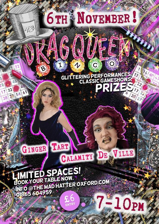 Drag Queen Bingo! with The Mad Hatter, 6 November | Event in Oxford | AllEvents.in