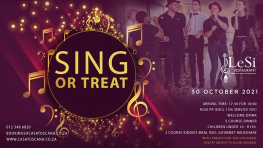Sing or Treat with Lesi Singing Waiters, 30 October | Event in Pretoria | AllEvents.in