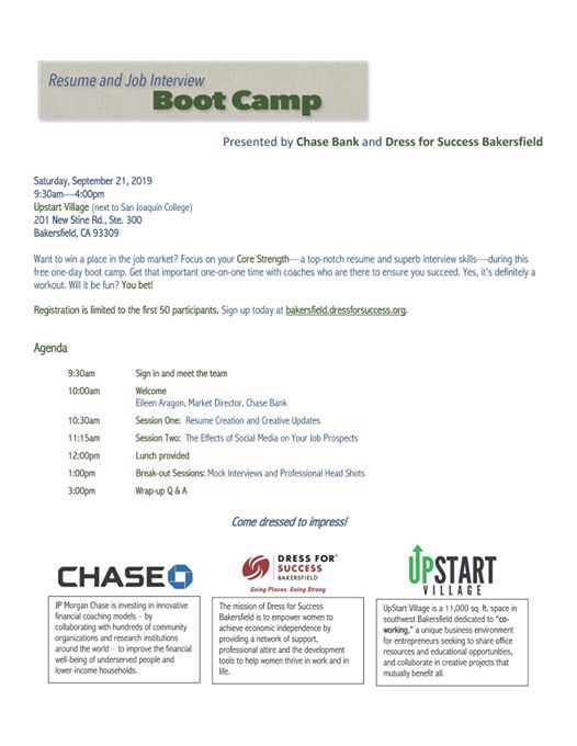 resume and interview boot camp at upstart village  bakersfield