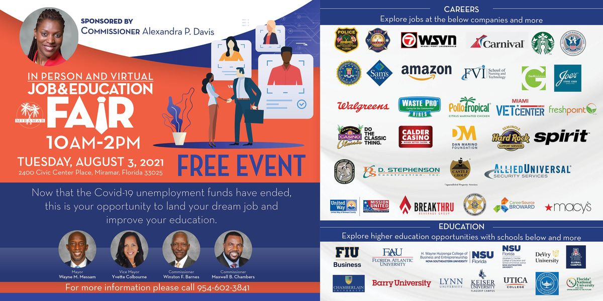 In Person and Virtual Job & Education Fair, 3 August | Event in Miramar | AllEvents.in