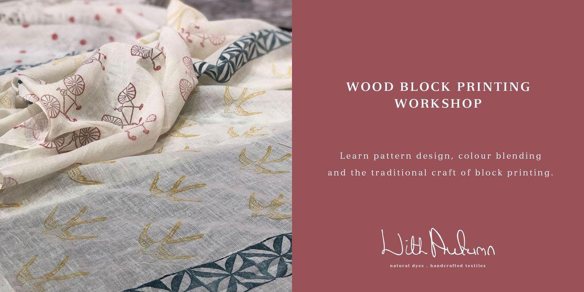Wood Block Printing Workshop at With Autumn Textile Studio