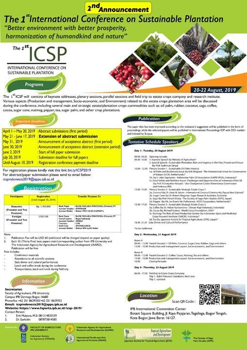 The 1st International Conference on Sustainable Plantation