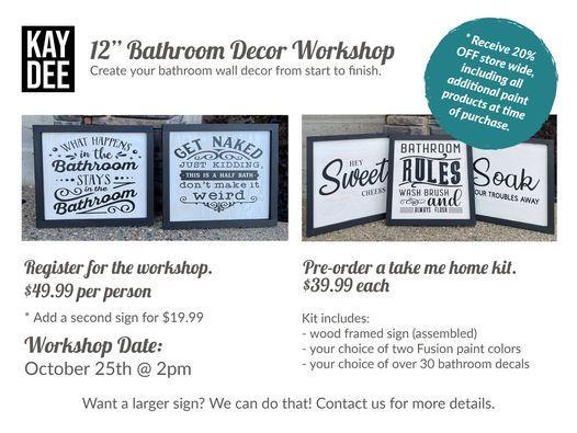 Bathroom Decor Workshop Kaydee Home Decor Yorkton 25 October