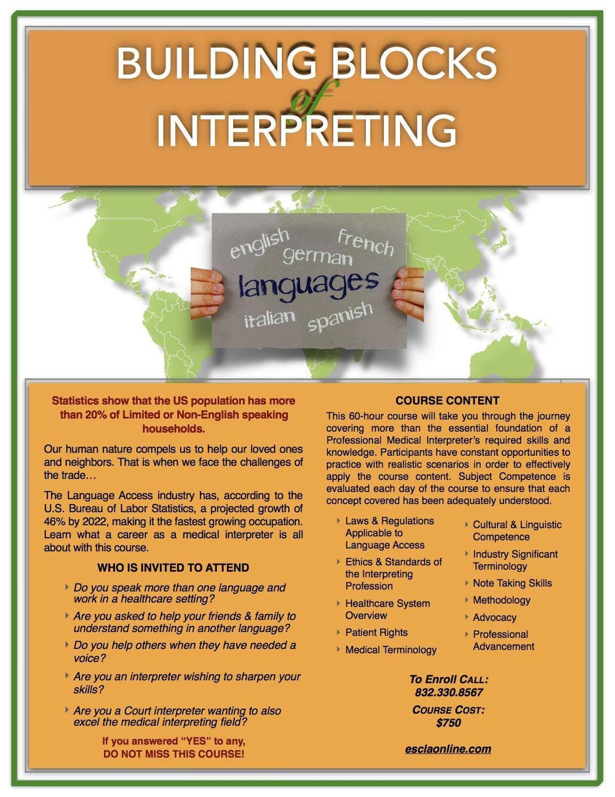 Building Blocks of Interpreting - Intensive 60-Hour Medical Program