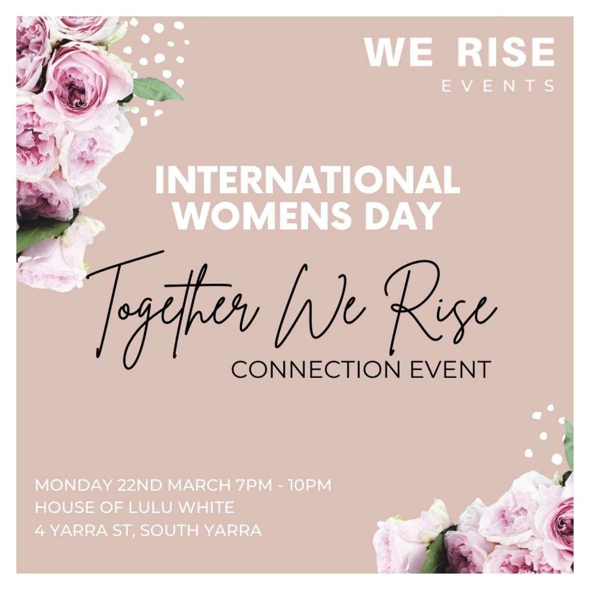 International Women's day ' Together We Rise' Connection Event, 23 April | Event in South Yarra | AllEvents.in