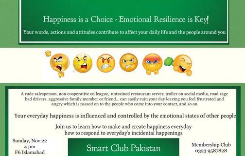 Learn to be Happy Everyday in Everyway, 22 November | Event in Islamabad | AllEvents.in