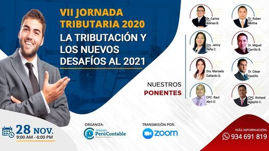 """VII JORNADA TRIBUTARIA 2020: """"LA TRIBUTACIÓN Y LOS NUEVOS DESAFÍOS AL 2021"""", 28 November   AllEvents.in"""