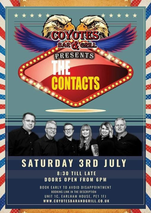 The Contacts at Coyotes Bar & Grill - Rescheduled!, 21 August   Event in Peterborough   AllEvents.in
