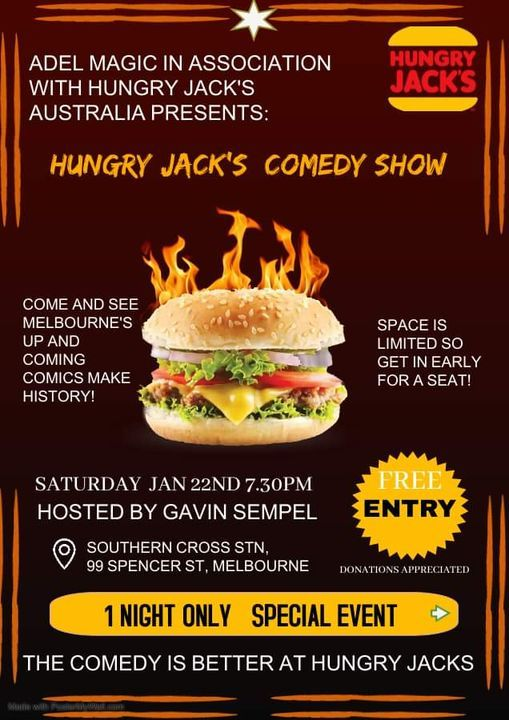 Hungry Jack's Comedy, 24 July | Event in Melbourne | AllEvents.in