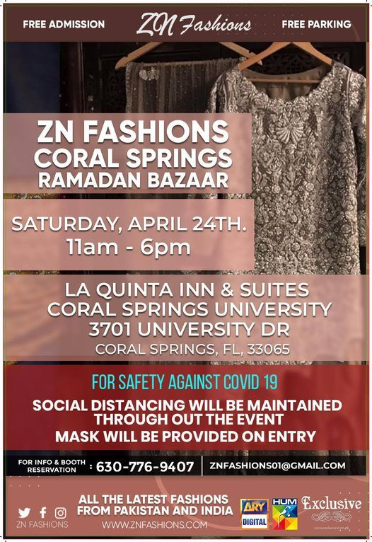 ZN Fashions Coral Springs, FL. Ramadan Bazaar, 24 April | Event in Coral Springs | AllEvents.in