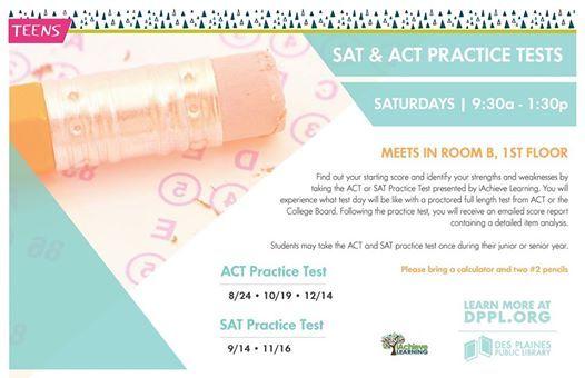SAT Practice Test at Des Plaines Public Library, Des Plaines