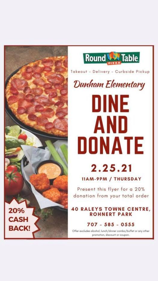Dine And Donate Round Table Pizza Rohnert Park February 25 2021 Allevents In