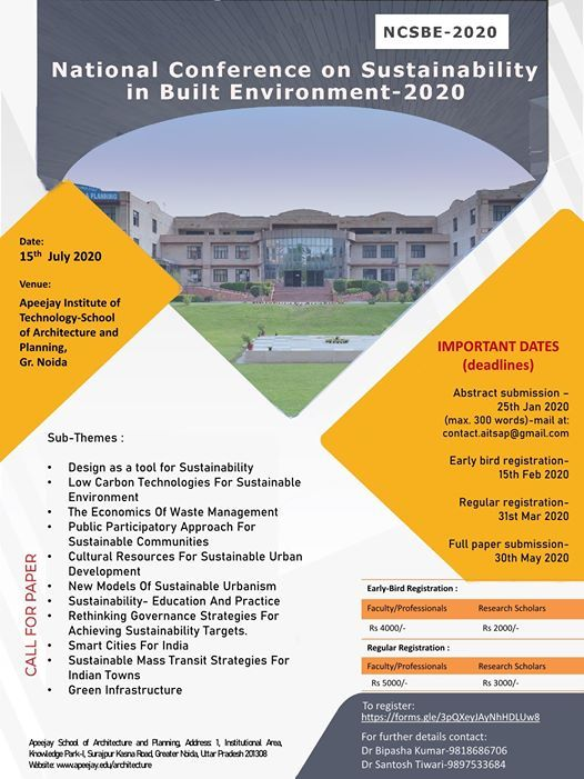National Conference on Sustainability in Built Environment -2020