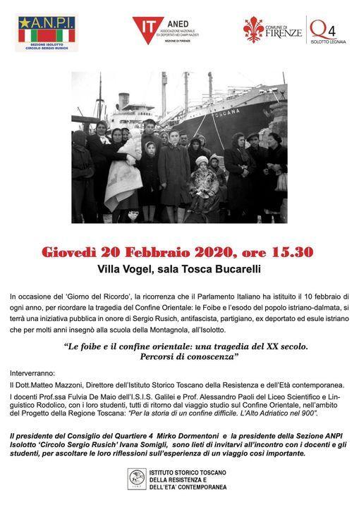 Le foibe e il confine orientale: una tragedia del ** secolo. P, 20 February | Event in Florence | AllEvents.in