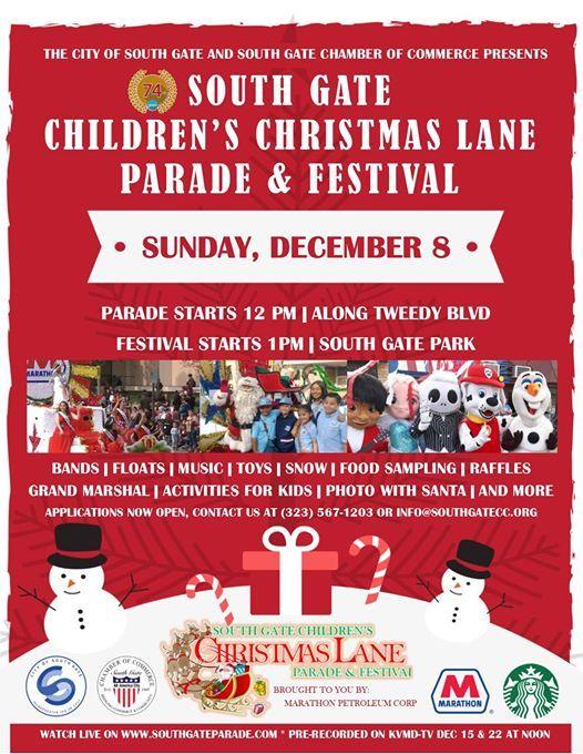City Of South Gate >> 74th South Gate Childrens Christmas Lane Parade Festival
