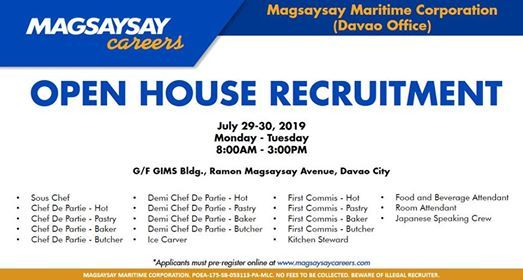 Open House Recruitment: Davao City at Magsaysay Careers, Davao