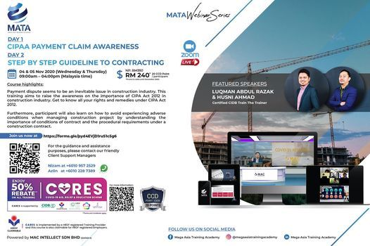 CIPAA Payment Claim Awareness and Step By Step Guideline To Contracting, 4 November | Online Event | AllEvents.in