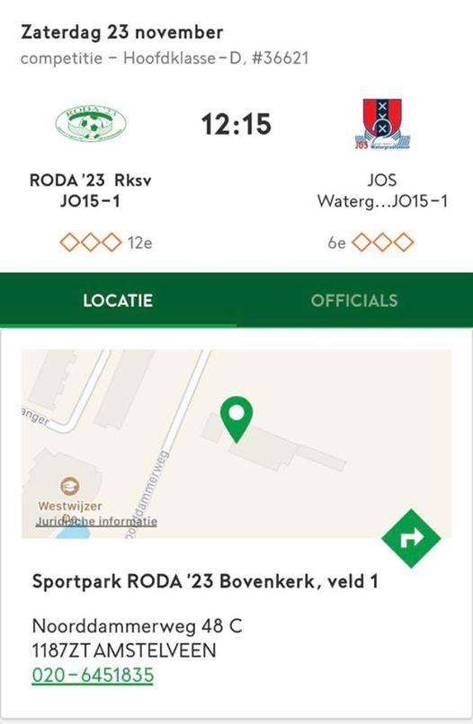 Roda23 JO15-1 - JOS Watergraafsmeer JO15-1