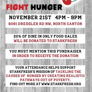Eat Pizza Drink Beer Fight Hunger. Danny Boys 20% Fundraiser