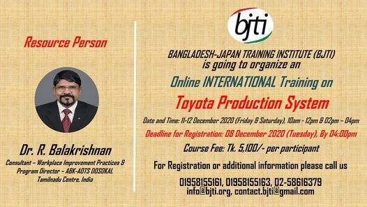 Toyota Production System, 11 December | Event in Dhaka | AllEvents.in