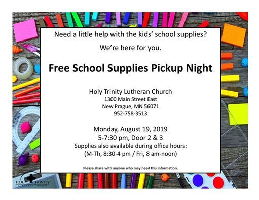 Free School Supplies PickUp Night at Holy Trinity Lutheran